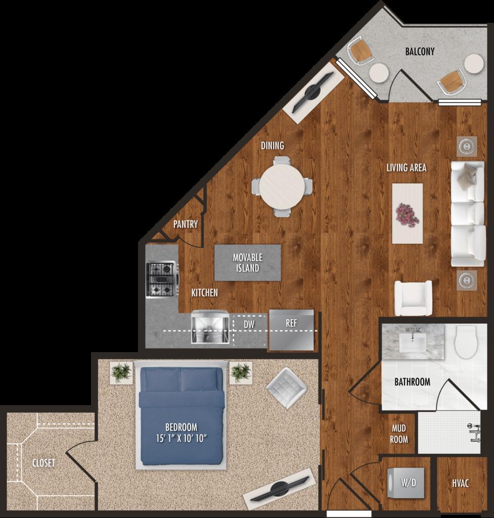 685 sq. ft. A1 floor plan