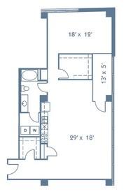 1,233 sq. ft. A17 floor plan