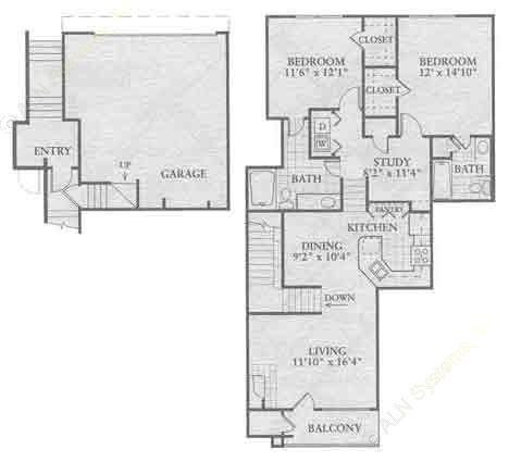 1,247 sq. ft. B4 floor plan