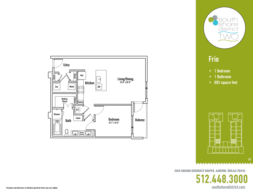883 sq. ft. Frio floor plan