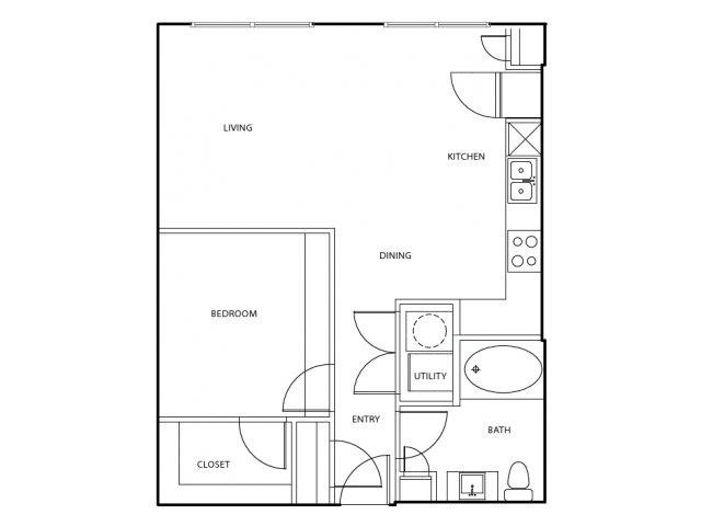 702 sq. ft. A1-A floor plan