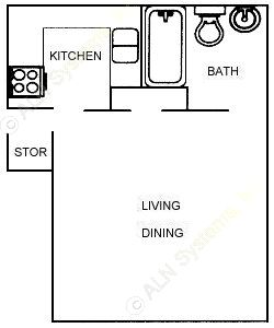 401 sq. ft. 60% floor plan