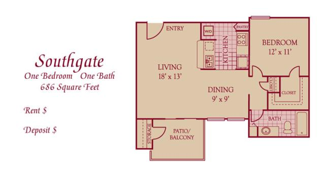 686 sq. ft. A2 floor plan
