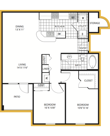 983 sq. ft. Palermo floor plan