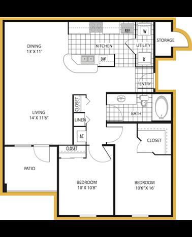 983 sq. ft. Palermo floor plan