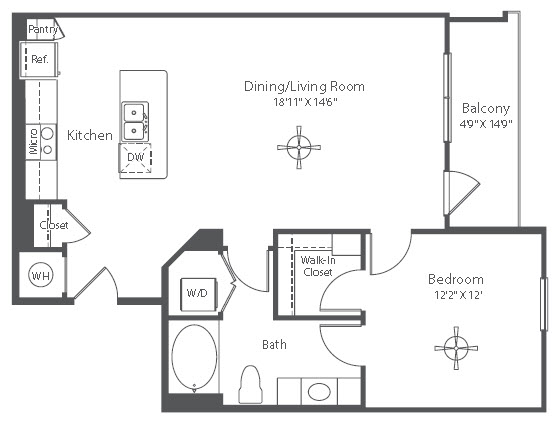 837 sq. ft. A12 floor plan