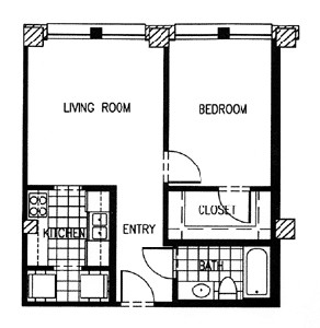 607 sq. ft. P9-60 floor plan