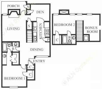 1,391 sq. ft. B4 floor plan