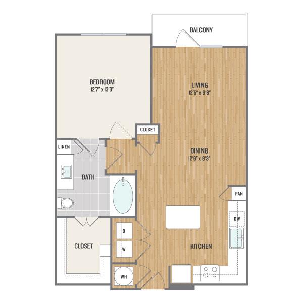 800 sq. ft. A7 floor plan