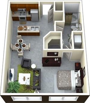 740 sq. ft. II/A3 floor plan