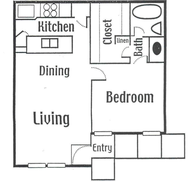 651 sq. ft. Medium floor plan