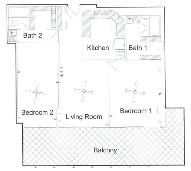 1,060 sq. ft. floor plan