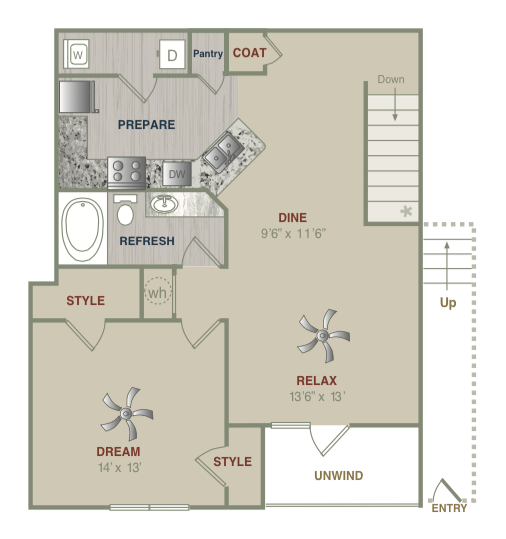 951 sq. ft. A2UG floor plan