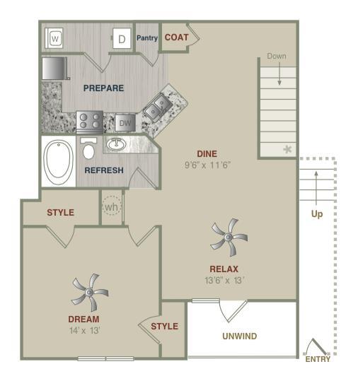 951 sq. ft. A2UG floor plan