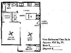 616 sq. ft. 60% floor plan
