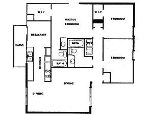 1,106 sq. ft. DUPLEX floor plan