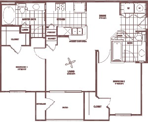 935 sq. ft. Red Oak floor plan