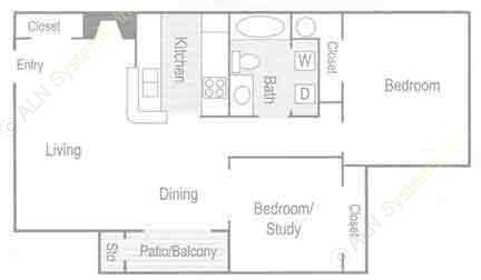 868 sq. ft. Venice (B1) floor plan
