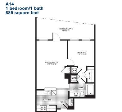 700 sq. ft. A14.2 floor plan