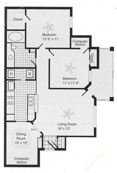 1,054 sq. ft. D PH II floor plan