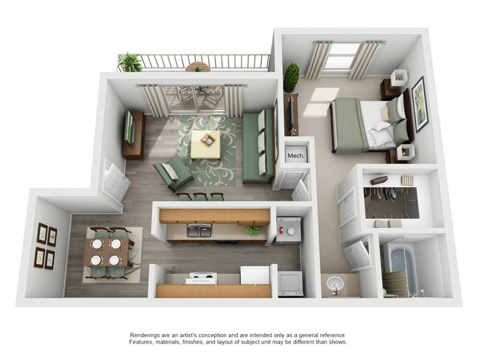 701 sq. ft. C - Cascade floor plan