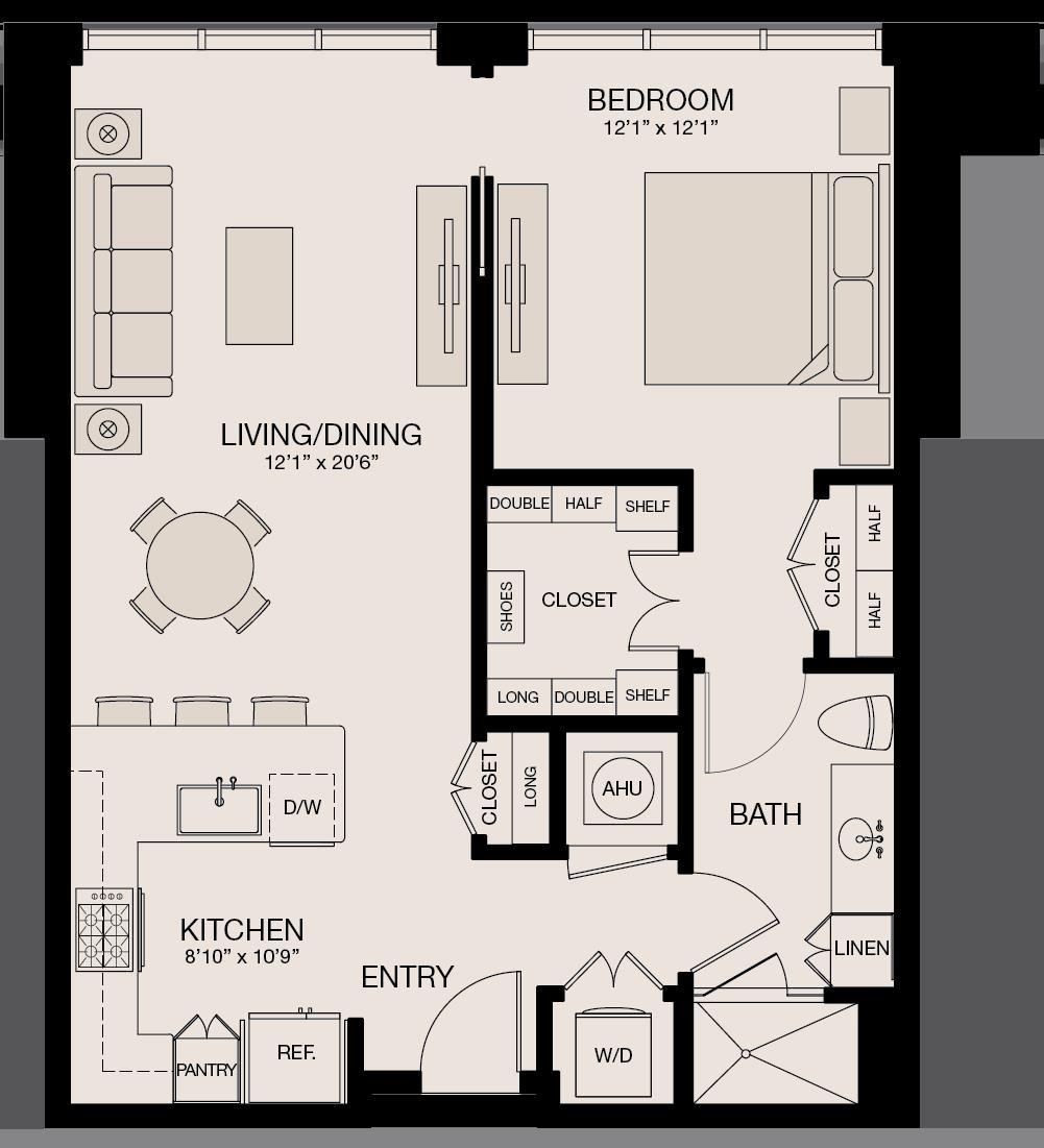 826 sq. ft. floor plan