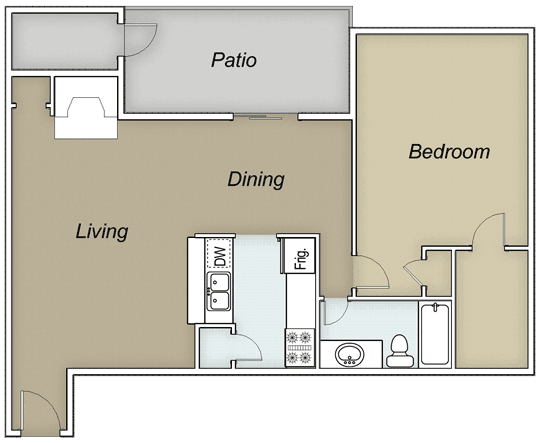 844 sq. ft. A1D W/D floor plan
