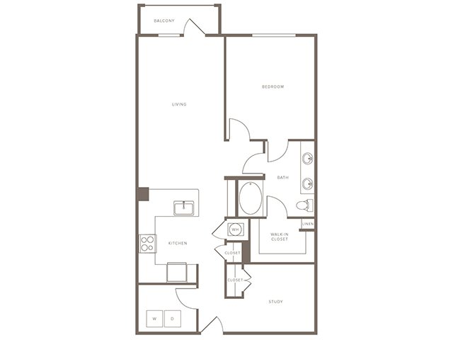 1,034 sq. ft. A12S floor plan