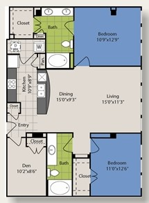 1,254 sq. ft. B10 floor plan