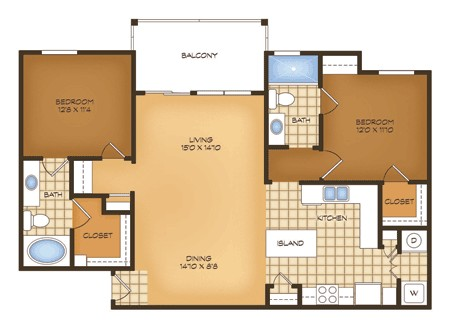 1,144 sq. ft. B6 Padova Vistas floor plan