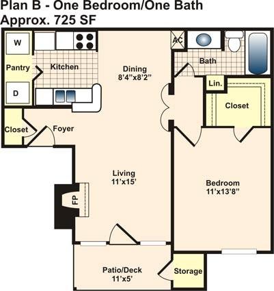 725 sq. ft. B floor plan