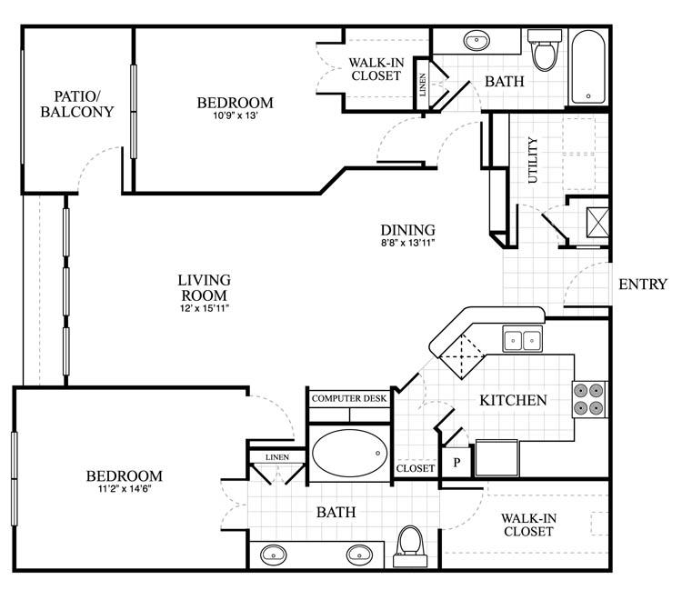 1,210 sq. ft. Buckingham floor plan