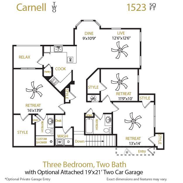 1,523 sq. ft. Carnell 2 floor plan