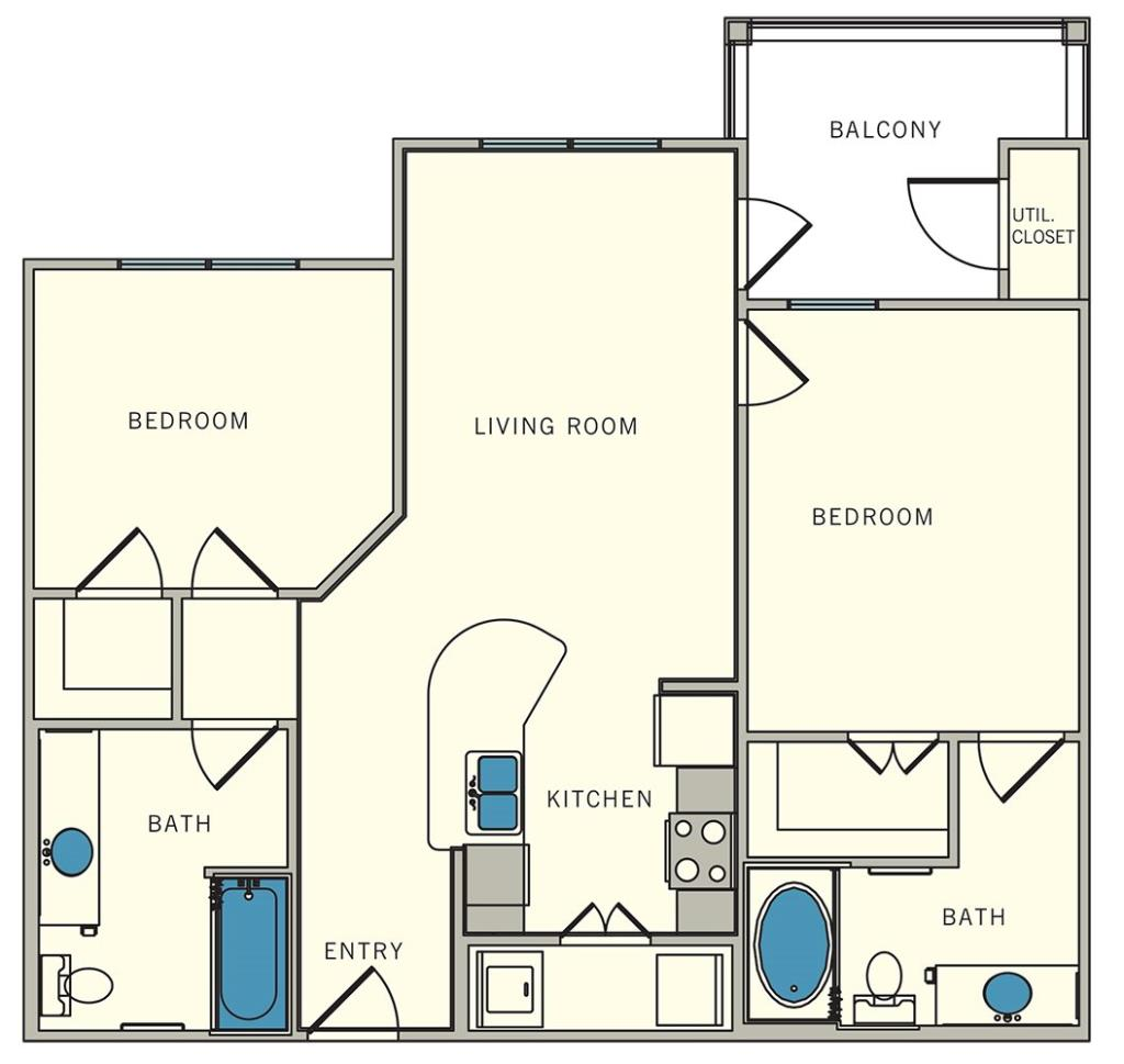 901 sq. ft. B1 floor plan