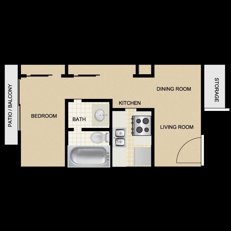 640 sq. ft. floor plan