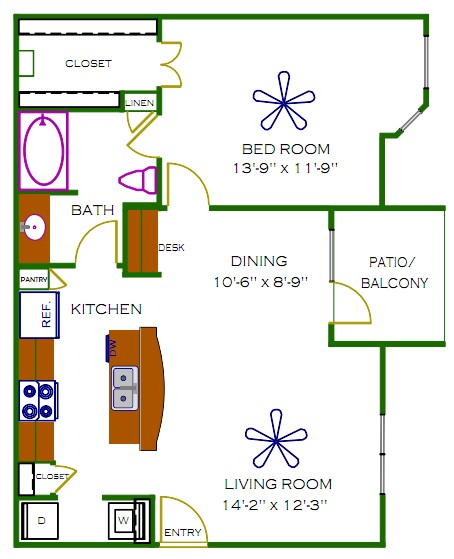 778 sq. ft. Blakely floor plan