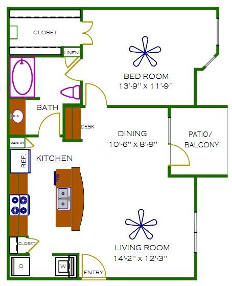 778 sq. ft. Blakely floor plan