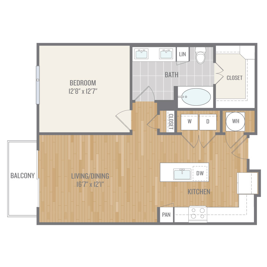 808 sq. ft. A7 floor plan