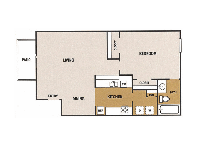 641 sq. ft. B floor plan
