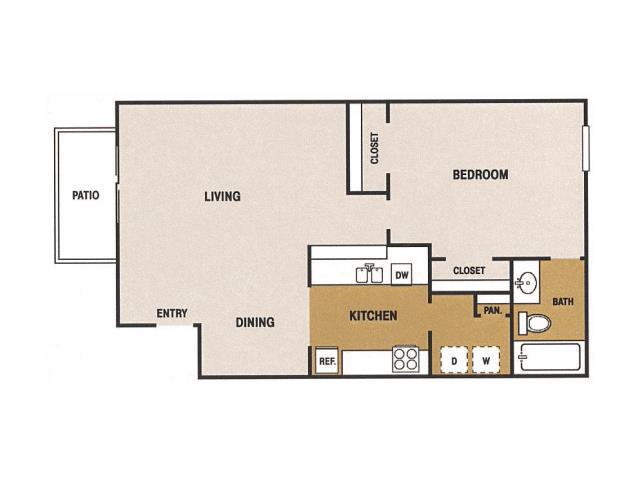 641 sq. ft. B floor plan