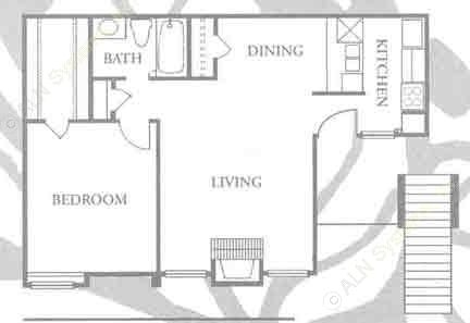 677 sq. ft. A-1 floor plan
