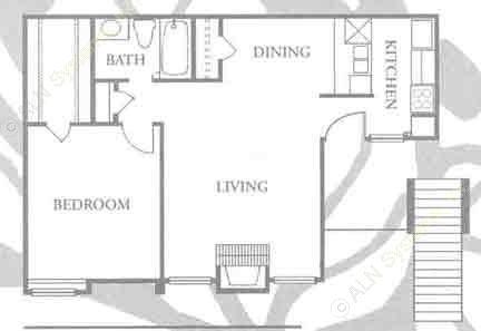 677 sq. ft. A-1 floor plan