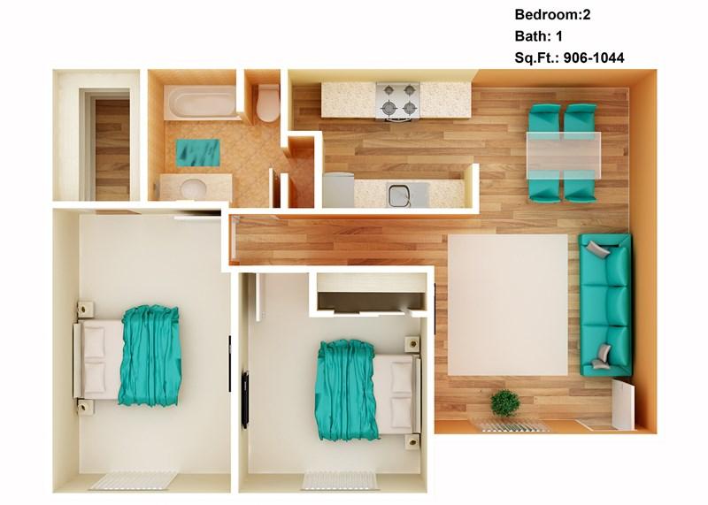906 sq. ft. to 1,044 sq. ft. floor plan