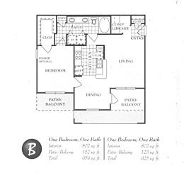 802 sq. ft. B floor plan