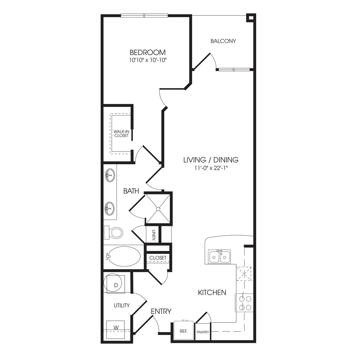 780 sq. ft. Downing Street floor plan