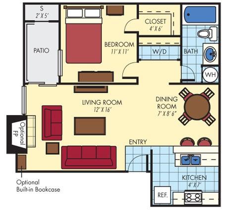 656 sq. ft. to 672 sq. ft. Longhorn floor plan