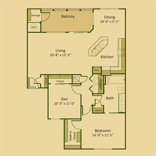 1,109 sq. ft. 1BD floor plan
