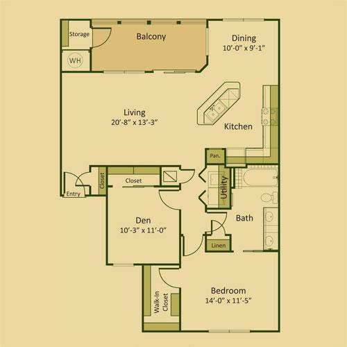 1,109 sq. ft. 1BD floor plan