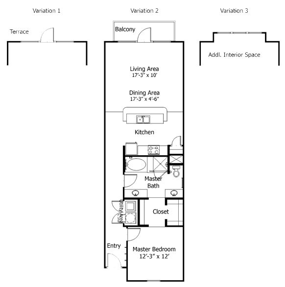 990 sq. ft. to 1,320 sq. ft. 5A5s floor plan