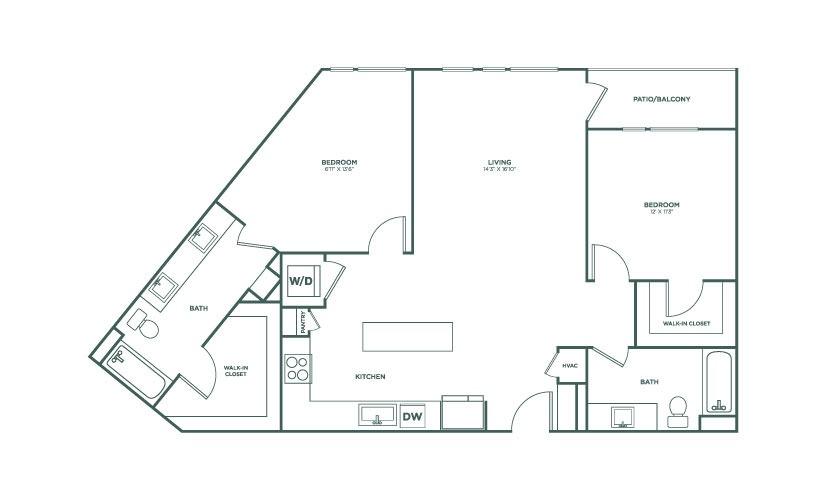 1,209 sq. ft. B1B floor plan